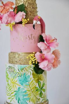 Girls just wanna have fun ;) A 4 tier Tropical Bridal Shower themed cake for Kristy, organised by her lovely Maid of Honour. This creation features gold Calligraphy, sugar flowers, and a hand painted bottom tier. Not forgetting a gorgeous flamingo. Pretty Cakes, Cute Cakes, Cashmere And Cupcakes, Hawaii Cake, Buttercream Cake Designs, Beach Themed Cakes, Biscuit, Cool Cake Designs, Tropical Bridal Showers