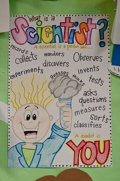 Scientist Anchor Chart: First science unit 1st Grade Science, Kindergarten Science, Middle School Science, Teaching Science, Science Education, Science For Kids, Science Activities, Science Ideas, Science Experiments