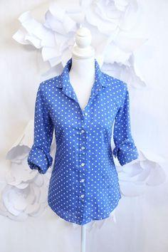 J CREW Polka Dot Button Down Perfect Shirt Blouse 2|XS Linen Blue|White LS #JCREW #ButtonDownShirt #Career