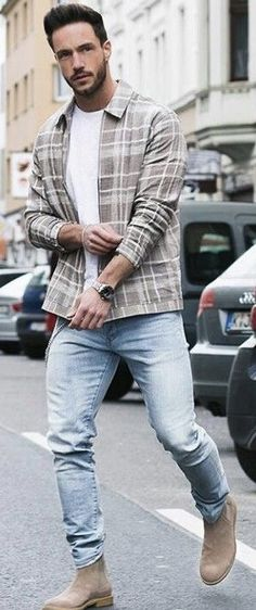 Nadine Din - with a casual fall outfit idea with a brown plaid shirt white t-shirt light wash denim watch tan suede chelsea boots #fallfashion #falloutfits #menswear #menstyle #mensapparel #chelseaboots #denim #tshirt #mensfashion