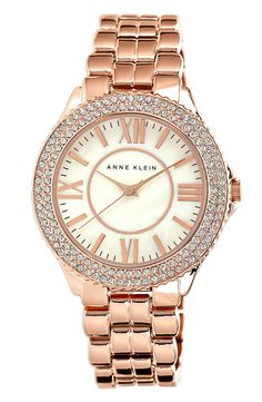 A sparkly rose gold addition to a stacked wrist | Anne Klein Crystal bracelet watch.