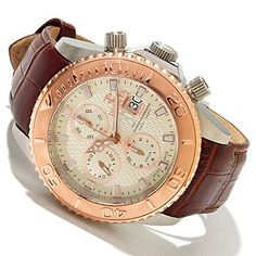 Invicta Reserve Mens Pro Diver Swiss Valjoux 7750 Automatic Chronograph Leather Strap Watch 47mm