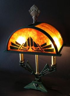Art Deco mantle lamp by M Hames, 1920s. Custom mica and wood shade, original finish, two candles