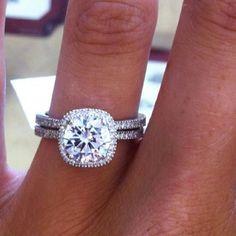 Cushion cut, halo, micro pave engagement & wedding ring set