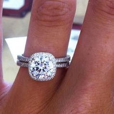 Cushion cut, halo, micro pave engagement & wedding ring set