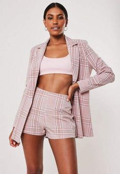 5e53c9276d8 Pink Co Ord Check Tailored Shorts, Pink