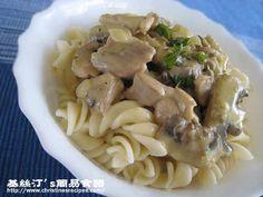 雞絲蘑菇汁意大利粉 Pasta with Creamy Chicken Mushroom Sauce from 簡易食譜