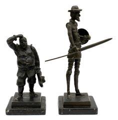 Gilberto MANDARINO: fantásticas esculturas em bronze, representando Don Quixote e Sancho Pança, amba