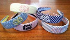 Monogrammed Headband --Seersucker or Gingham on Etsy, $20.00