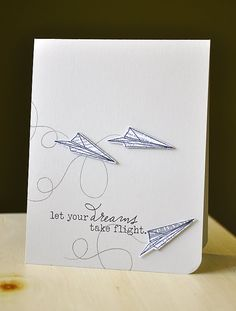 Paper airplane card -- perfect for graduation!!