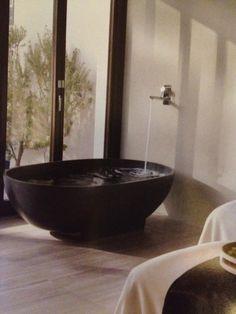 Black stone bath   modern bath tub inspiration by COCOON   check out our freestanding bath tubs   sturdy stainless steel bathroom taps   bathroom design   renovations   interior design   villa design   hotel design   Dutch Designer Brand COCOON