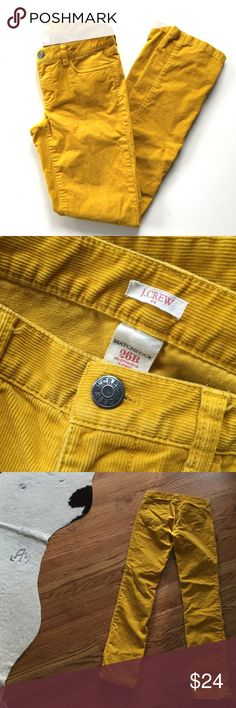 "J. Crew Golden Yellow Matchstick Cords // Size 26 Awesome pair of J. Crew pants. Golden yellow corduroy. Style: Matchstick. Very good condition. 99% cotton, 1% spandex. Size 26 R. 32 1/4"" inseam. 15"" waist flat. J. Crew Jeans Skinny"