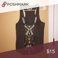 Beaded Tank Boughten from Urban Outfitters- ecote brand. Olive green, beaded pattern on the front Ecote Tops Tank Tops