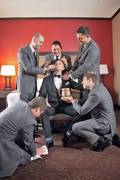 Funny Wedding Photos 24 Creative Wedding Entourage Photo Ideas - Whether you're getting married soon or photographing a wedding pictorial yourself, you'll find fresh wedding entourage photo ideas in this collection. Groomsmen Wedding Photos, Wedding Entourage, Groom And Groomsmen, Wedding Groom, Wedding Ceremony, Wedding Picture Poses, Funny Wedding Photos, Wedding Poses, Wedding Photoshoot