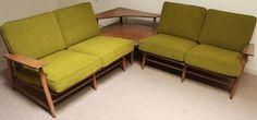Mid Century Modern HEYWOOD WAKEFIELD Sectional Sofa Couch Furniture Danish Green #MidCenturyModern #HeywoodWakefieldManufacturing