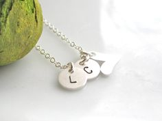 Best friends Necklac  Two Custom initials with  by cocowagner, $27.50