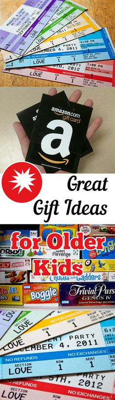 Christmas or Birthday gift ideas for kids that are too old for toys! Great options for Christmas gifts for your older kids.