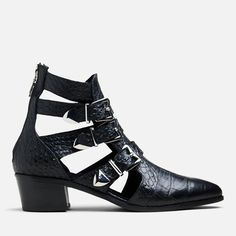 The Striped Bowie Tall boot features an all-leather upper, square toe, and a square heel. Tall Boots, Metal Buckles, Scorpio, Venus, Booty, Sneakers, Leather, Shoes, Fashion