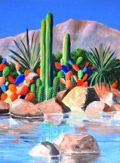 Colorful abstract desert scene with cacti. Colorful abstract desert scene with cacti. Cactus Paintings, Desert Painting, Plant Painting, Southwestern Paintings, Southwest Art, Tropical Painting, Painting, Plant Art, Az Art