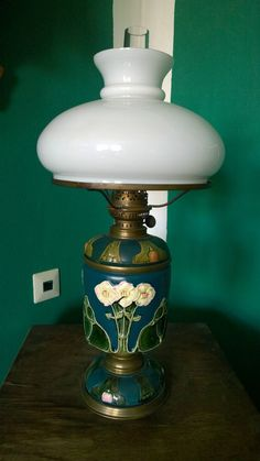 Original Docht jugendstil Oillampe Petroleumlampe 3teilig Glasschirm Rundbrenner