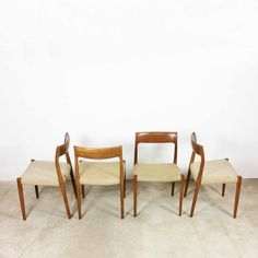 Set of 4 Nils O. Möller teak chairs | model 75 J.L. Möller A/S, made in denmark