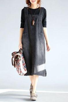 Black/Blue Big Pocket Denim Dress Q7847