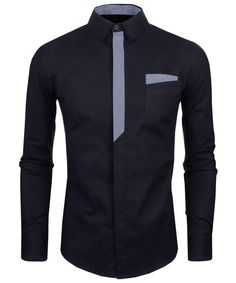 Personality Color Block Fly Slimming Turn-down Collar Long Sleeves Men's Shirt
