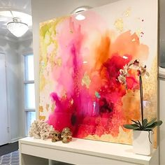 Definitely did not want to say goodbye to this one so fiery and dramatic with perfect coat of @art_resin #etsy #interiordesign #artist #artresin #abstractart #balayage #ink #goldleaf #art #zgallerie #cbus #asseenincolumbus #coral #orchid #chandelier #peach #glam #design