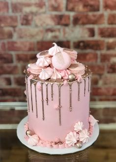 Rose gold drip cake with meringues, macarons, and candies by Paris Custom Cakes 16th Birthday Cake For Girls, Birthday Cake Roses, 15th Birthday Cakes, Sweet 16 Birthday Cake, Elegant Birthday Cakes, Beautiful Birthday Cakes, 13th Birthday, 21 Bday Cake, Paris Birthday Cakes