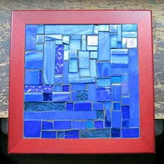 Blue Gradation Patchwork Mosaic Tile by Margaret Almon of nutmegdesigns on Etsy Tile Art, Mosaic Art, Mosaic Tiles, Mosaics, Blue Mirrors, Blue Ombre, Shades Of Blue, Light In The Dark, Stained Glass