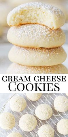 These cream cheese cookies are the absolute best cookies - melt in your mouth, pillow soft! #creamcheesecookies
