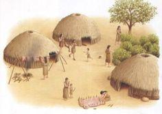 Het zijn simpele kleine hutjes, gemaakt van riet. Ze gebruikte als het ware alles uit de natuur zelf om te overleven.