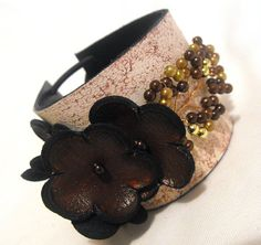 SALE Shades of brown leather bracelet. Flowers leather cuff bracelet