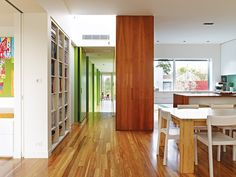 Floor-to-ceiling pivot doors painted lime by Neil Architecture Home Interior Design, Interior Architecture, Interior Decorating, Bright Hallway, Pivot Doors, Melbourne House, Decoration, My Dream Home, Interior Inspiration