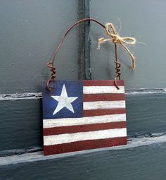 Americana Decoration American Flag Hanging Patriotic Stars Stripes 4th Fourth of July Country Rustic Metal Sheet Wire Hanger Red White Blue on Etsy, $10.00