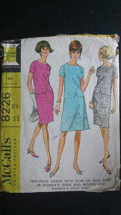 B42 McCalls 8226 Jackie Kennedy glam. Cut. Early 1960s Mad Men style two piece dress pattern by StarletPatterns on Etsy