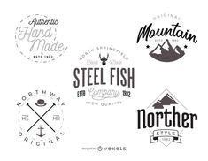 Set of vintage and hipster logo template designs. Each design features different typography styles, letterings, silhouettes and more.