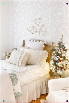 Little Girl's Bedroom Decorated For Christmas White Neutral Girls Room Decorated With A Flocked Christmas Tree And A Festive Bunting For Sweet Seasonal Home Decor Zevy Joy Joanna Gaines, Girls Bedroom, Bedroom Decor, Bedrooms, Christmas Bedroom, Christmas Tree, Christmas Christmas, Xmas, Big Girl Rooms