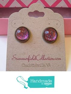 "Glitter Glass Stud Earrings 1/2"" Hot Pink and Blue http://www.amazon.com/dp/B017Y7IBKC/ref=hnd_sw_r_pi_dp_YILrwb1D06JWP #handmadeatamazon"