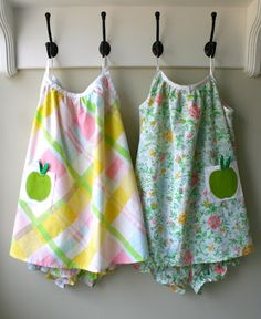 Summer jammies from thrifted sheets, for Zoe?...love them, they look so cool and comfy; just need to find some old sheets!