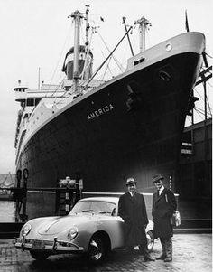 Ferry and Ferdinand Alexander Porsche in New York in 1958 with the Porsche 356.