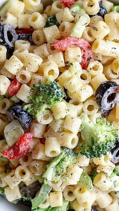 Creamy Summer Pasta Salad Recipe ~ Light and slightly tangy pasta salad, with just enough creamy dressing to coat the noodles and vegetables, this is one heck of an awesome pasta salad