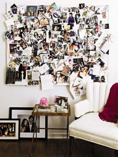 Inspiration Boards--what if we had a giant one in our living room we let people build off of? or in the kitchen or something? idk, just thought it was cute!