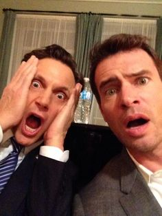 Tony Goldwyn and Scott Foley after reading Scandal season 3 finale.omg i love this show Scandal Season 3, Scandal Abc, Scott Foley Scandal, Tony Goldwyn, Trailers, Lab, Nerd, Olivia Pope, Tv Land