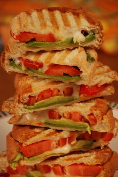 Avocado tomato and mozarella panini They really take no time at all and if you…
