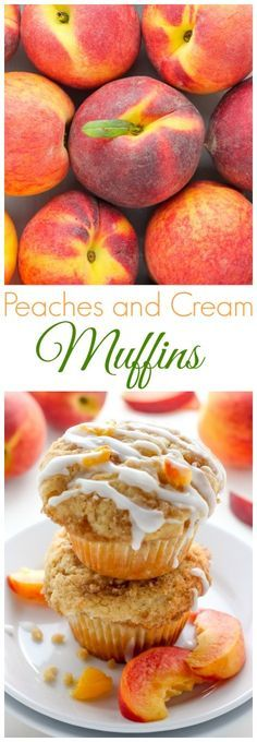 Peaches and Cream Muffins - Soft and fluffy Fresh Peach Muffins are topped with a Creamy Cinnamon Vanilla Glaze! A delicious recipe sure to make you weak at the knees. Muffins Peaches and Cream Muffins Köstliche Desserts, Delicious Desserts, Dessert Recipes, Yummy Food, Muffins Blueberry, Peach Muffins, Mini Muffins, Muffin Tin Recipes, Baking Recipes