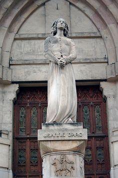 Jeanne D'Arc Statue. St. Vincent de Paul Cathedral, Marseilles, Provence, France.