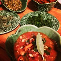 Pumpkin 3 bean vegetarian chili with toasted pumpkin seeds & poblano pepper