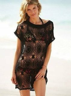 Crochet Swimwear Tunica- crochet tunic in black Bikini Crochet, Crochet Tunic, Irish Crochet, Crochet Clothes, Crochet Lace, Crochet Tops, Super Moda, Mode Crochet, Crochet Woman