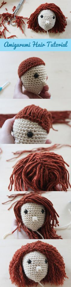 Amigurumi hair tutorial - step by step photos to add straight or wavy hair to your #crochet doll.  #amigurumi